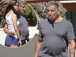 Rambo gets a beer belly! Sylvester Stallone, 74, displays a fuller physique in Malibu