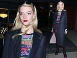 Anya Taylor-Joy is her usual gorgeous self in a quirky slogan t-shirt and pin striped over coat