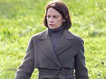 Ruth Wilson wraps up in a trench coat and leather gloves as she films scenes for film Oslo