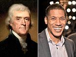 Thomas Jefferson seen alongside sixth-great-grandson in portrait