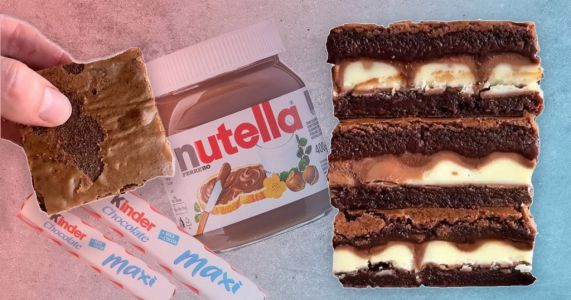 Baker shares easy five-step recipe for brownies stuffed with Nutella and Kinder chocolate