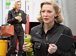 Cate Blanchett rocks a leather jumpsuit in the first photos from the set of Nightmare Alley