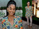 Laura Harrier flaunts her frame in floral at screening of Ryan Murphy's mini-series Hollywood