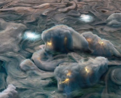 Shallow lightning and ammonia mushballs suggested by data from Juno probe