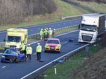 Baby boy dies after horror crash between car and HGV on A55 in storm-ravaged north Wales