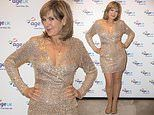 Penny Smith, 61, exudes glamour in a low-cut glittering gold mini dress at Age UK's carol concert
