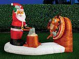 Bunnings raises eyebrows with giant inflatable axe-throwing Santa in its 2020 Christmas collection