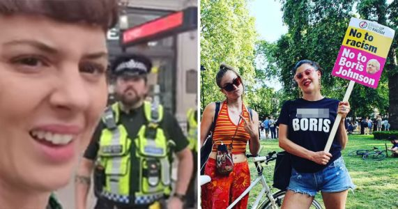 Policeman stops woman in street for wearing 'f**k Boris' T-shirt
