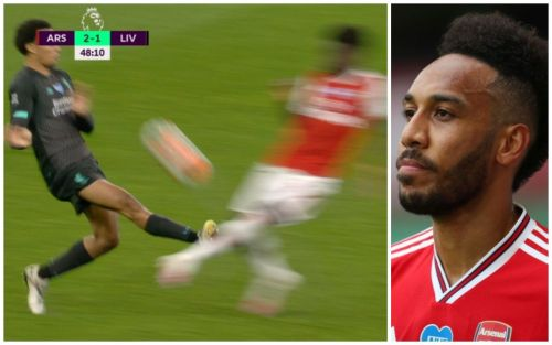 Pierre-Emerick Aubameyang annoyed as Trent Alexander-Arnold escapes red card during Arsenal's win vs Liverpool
