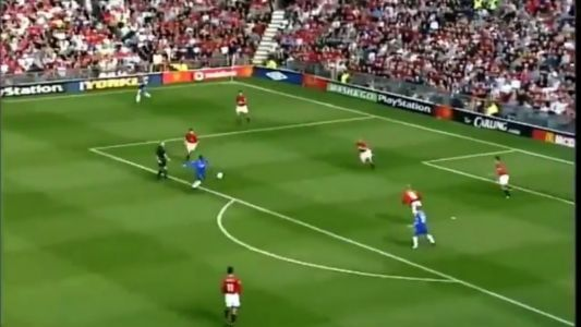 : Birthday boy Jimmy Hasselbaink with a trademark bullet finish Vs Man Utd