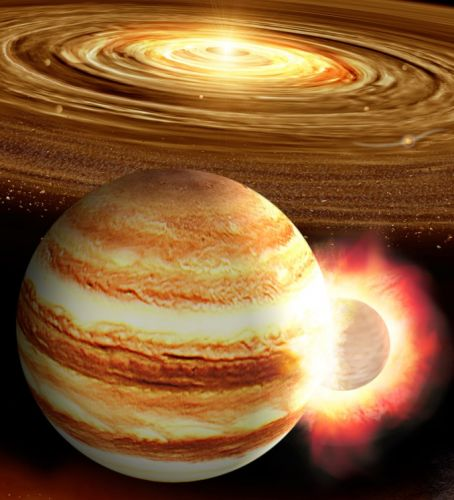 A core-warping impact in Jupiter's past?