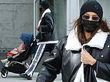 Irina Shayk looks like a cool mom in leather jacket and track pants during stroll with daughter Lea