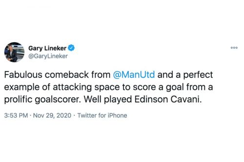 Gary Lineker raves about Edinson Cavani in Man United's 3-2 win at Southampton