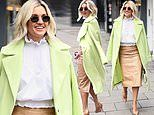 Ashley Roberts wears acid green coat over camel leather pencil skirt