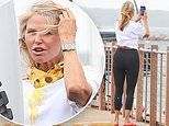Christie Brinkley takes photos of the stormy weather as she prepares for Tropical Storm Isaias