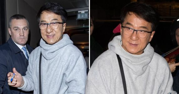 Jackie Chan happily signs autographs as he makes rare public appearance following Paris fashion week show