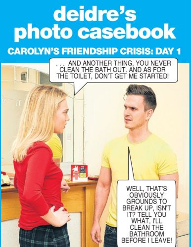 Carolyn answers the door to pal's boyfriend after lovers had a tiff - Deidre's photo casebook