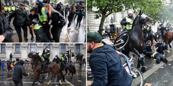 Mounted police charge during clashes at Black Lives Matter protest