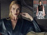 Rosie Huntington-Whiteley stuns in a leather harness gown on the cover of Harper's Bazaar