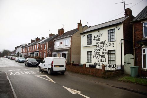Angry decorator daubs 'Want your house painting? Pay the bill' in 20ft letters on old pub as boss 'owes him £500'