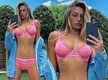 Zara McDermott showcases her tanned and toned figure as she poses in racy pink lingerie