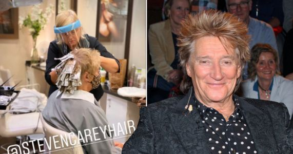 Rod Stewart wastes no time in getting his tips done as hairdressers re-open