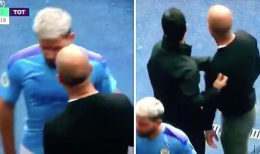 Pep Guardiola and Sergio Aguero in touchline bust-up after Man City ace taken off vs Spurs