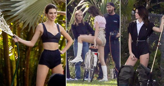 Kendall Jenner is a domestic goddess as she mows the lawn in wholesome photoshoot