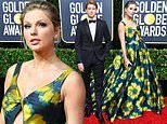 Taylor Swift serves flower power in blue and yellow without boyfriend Joe Alwyn at Golden Globes