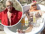 Suzanne Somers takes outdoor bath as hubby Alan Hamel performs flirty striptease in Instagram video