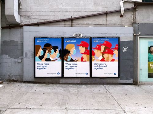 Amazingly realistic Facebook ads slamming the company from a 'provocative' street artist are blanketing NYC streets
