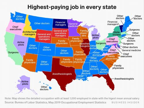 This map shows the highest-paying job in every state