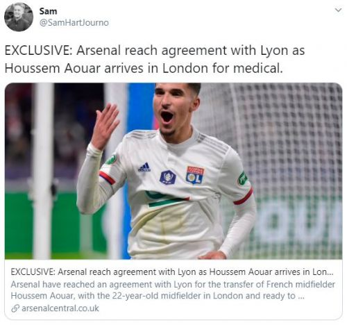 Houssem Aouar Arsenal transfer to be completed on Friday; player in London for medical