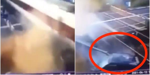 Dramatic CCTV footage shows the moment aa stolen car crashes into a high-speed train