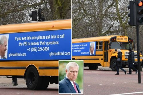 School bus urging Prince Andrew to call the FBI spotted outside Buckingham Palace