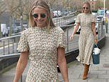 Vogue Williams showcases her sense of style in a white floral midi dress