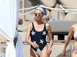 Boris Becker's ex Lilly displays her figure in a star print swimsuit as she sips wine in Sardinia