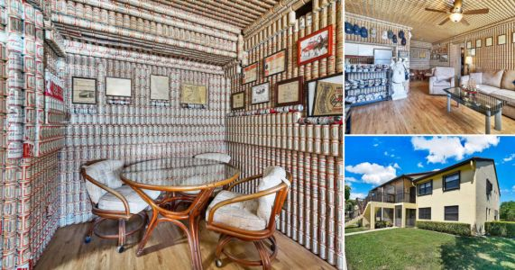 Property renamed 'House of Budweiser' after owner decorates all walls and ceilings with beer cans