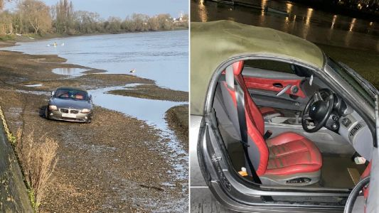 Owner admits it's 'quite funny' that his BMW floated off down Thames
