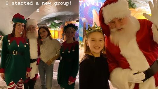 Victoria Beckham jokes she's started a new band while hanging out with Harper and Santa