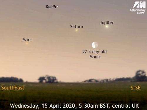 See the waning crescent Moon meet the dawn planets, 15-16 April 2020