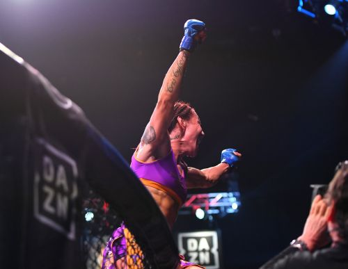 One of the greatest women's fighters of all time completed a 'Grand Slam' of MMA belts after finishing her Bellator opponent in the 4th round
