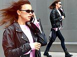 Irina Shayk cuts a cool look in leather motor jacket in NYC. after lunch with ex Bradley Cooper