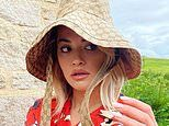 Rita Ora wears oversized floppy Gucci hat and bold poppy co-ord