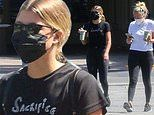 Sofia Richie looks gym ready in black activewear as she makes a juice run with a friend in Malibu
