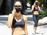 Cara Santana shows off her taut bod in black activewear as she makes a gym run in LA