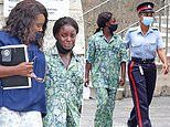 BBC pundit and former England footballer Eni Aluko cries as she leaves court in Barbados