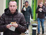 I'm A Celeb runner-up Andy Whyment munches on a pasty during low-key day out with wife Nichola