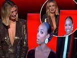 Kelly Rowland finds herself eye-level with Delta Goodrem's boobs on The Voice