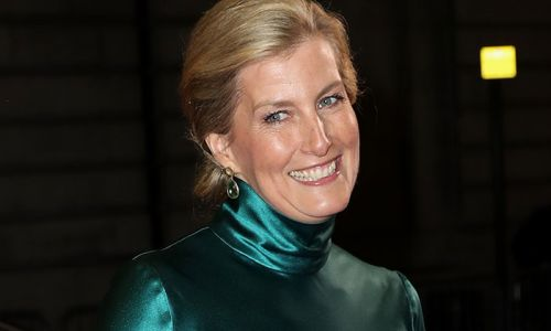 The Countess of Wessex looks glam in emerald green satin dress for London film premiere